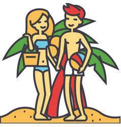 couple on beach summer vacation happy young vector image vector image