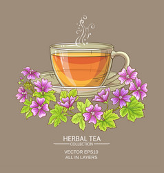 Cup of malva tea vector