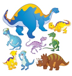 Cute dinosaurs group vector