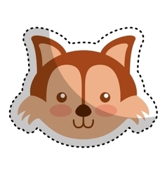 Cute fox character icon vector