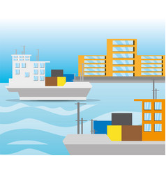 Freight ship navigating in the ocean near the city vector