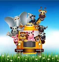 funny animal cartoon on yellow car vector image vector image