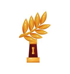 golden laurel branch award trophy statuette vector image