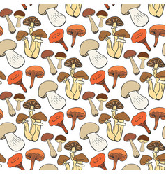 hand drawn mushrooms seamless pattern in color vector image