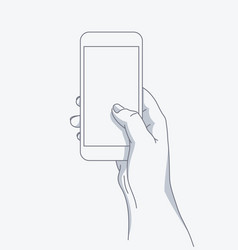 hand holds the phone vector image vector image