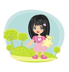 happy little girl with teddy bear vector image vector image