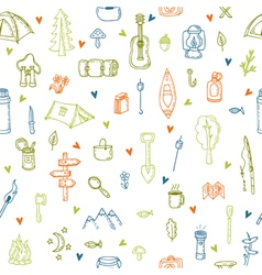 I love camping Hand drawn hike seamless pattern vector image vector image