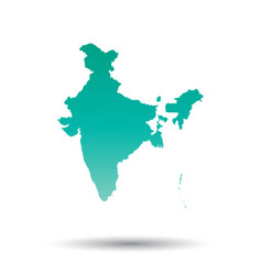 India map colorful turquoise on white isolated vector