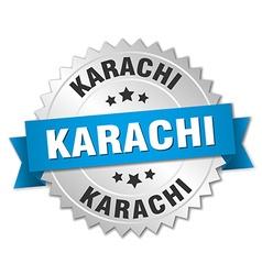 Karachi round silver badge with blue ribbon vector
