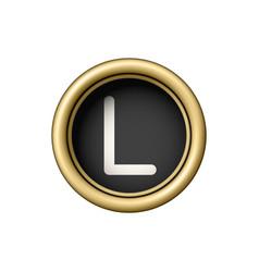 letter l vintage golden typewriter button vector image