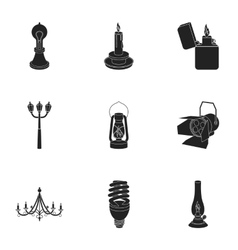 Light source set icons in black style Big vector image vector image