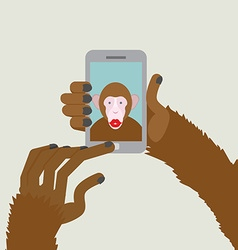 Monkey makes selfie Animal clicks to your vector image vector image