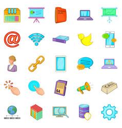Radio operator icons set cartoon style vector