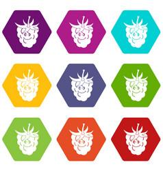 ripe fresh smiling raspberry icon set color vector image