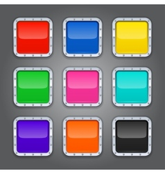 Set of backgrounds with metal border for the app vector image vector image