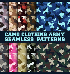 set of camouflage clothing army seamless pattern vector image