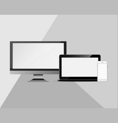 set of realistic computer monitors and mobile vector image vector image