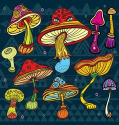 set of stylized mushrooms vector image