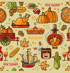thanksgiving holiday texture seamless pattern vector image vector image