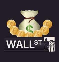Wall street new york investment vector