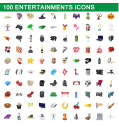 100 entertainments icons set cartoon style vector image vector image