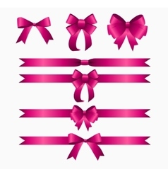 Pink ribbon and bow set for birthday and christmas vector