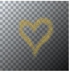 modern gold glitter heart on transparent vector image