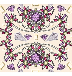 Seamless jewelery necklace kaleidoscope pattern vector