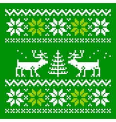 Knitted scandinavian scarf with deer vector
