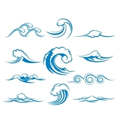 Waves of sea or ocean waves vector