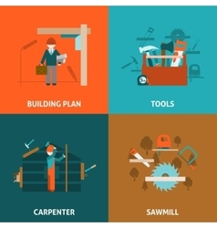 Carpenter concept 4 flat icons square vector