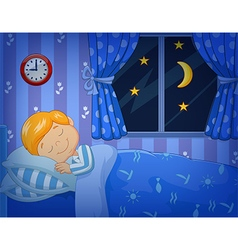 Cartoon little boy sleeping in the bed vector