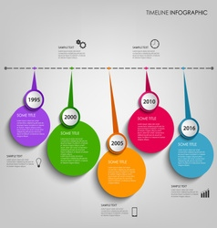 Time line info graphic with colored circular vector