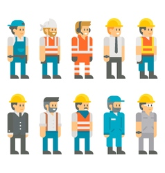Flat design construction workers set vector