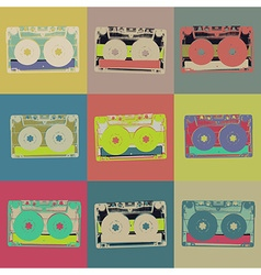 Audiocassette retro popart background seamless vector