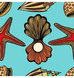 Seashells and starfish seamless pattern vector