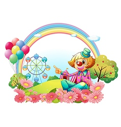 A clown in the carnival with a garden vector image