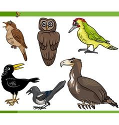Birds cartoon set vector