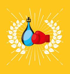 Boxing sport emblem icon vector