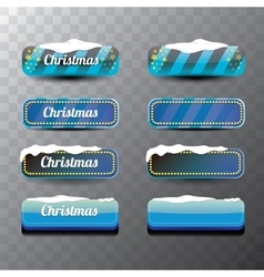 Christmas blue glossy glass buttons set vector image
