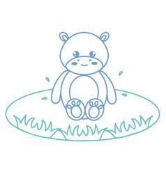 Cute and tender hippopotamus in the lake character vector