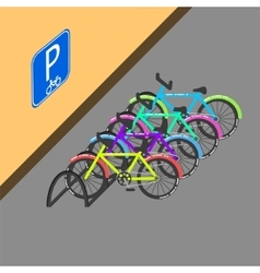 Cycle parking with sign on the wall vector