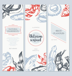 Delicious seafood - color drawn template banner vector