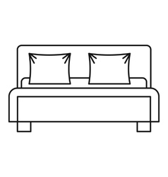 Double bed icon outline style vector