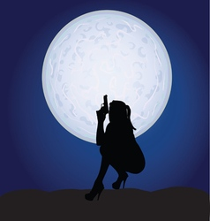 girl sexy with gun on moonlight vector image vector image