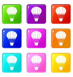 Hot air balloon with basket icons 9 set vector