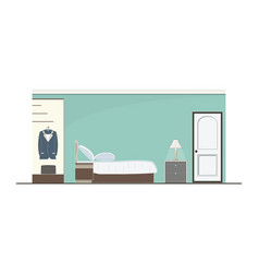 interior green bedroom design with furniture vector image