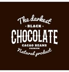 Isolated dark chocolate emblem logo white vector