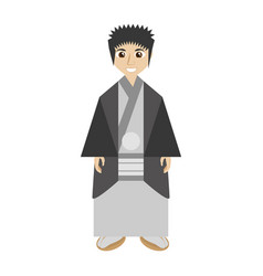 Japanese man wearing traditional dress vector