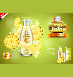 Juice ads bottle with pineapple slices and vector